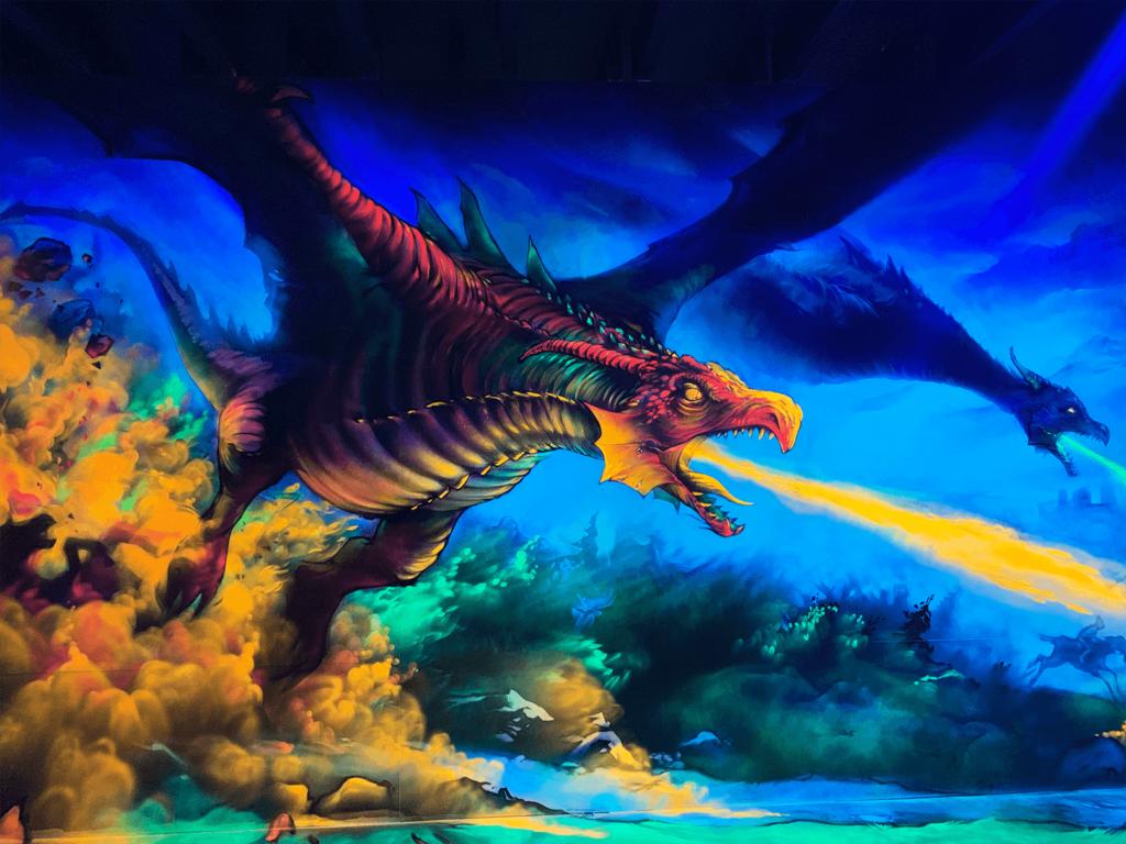 Schwarzlicht Fantasy Design Drache Feuer
