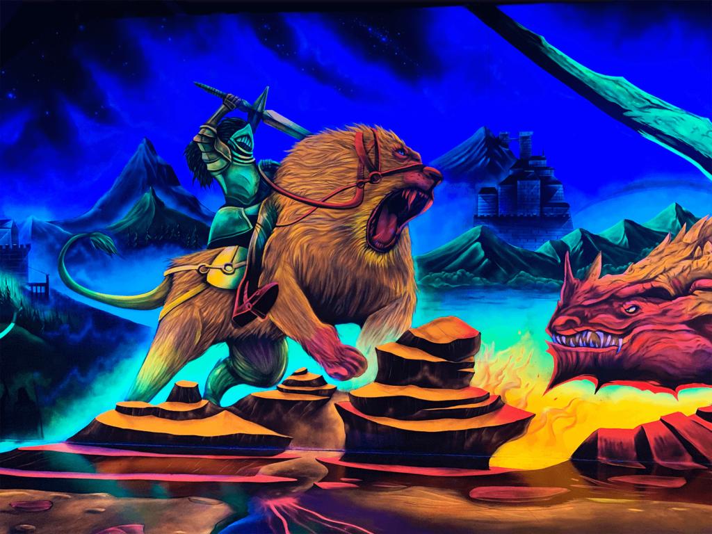 Schwarzlicht Fantasy Design Löwenritter