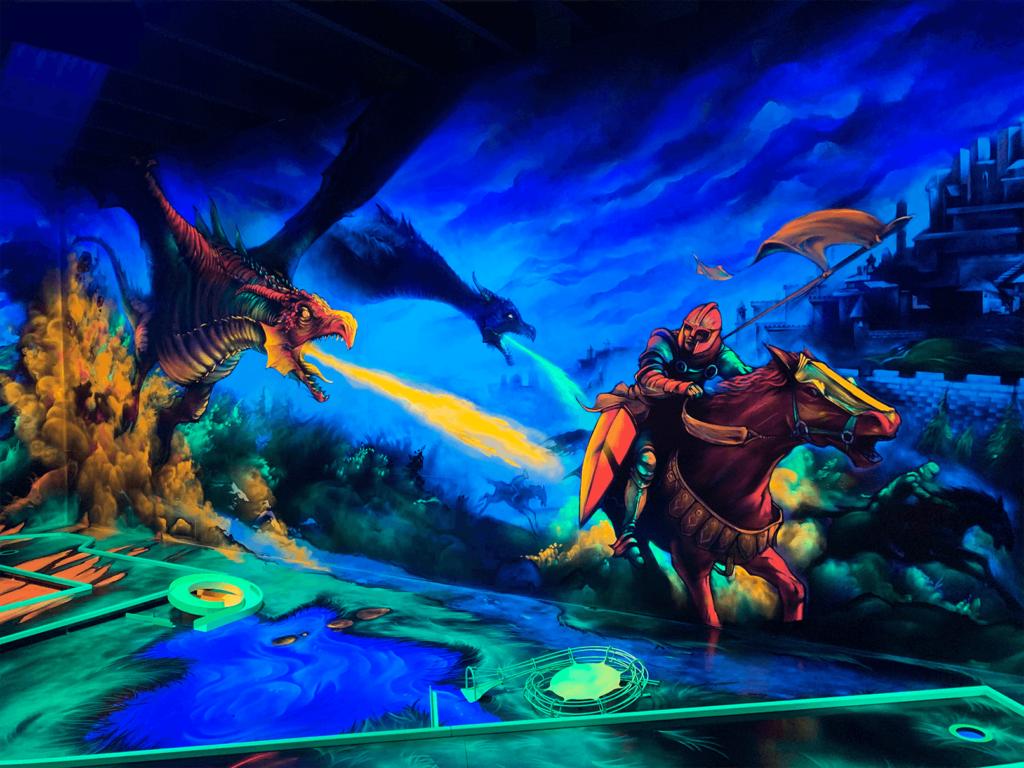 Schwarzlicht Fantasy Design Ritter Drache