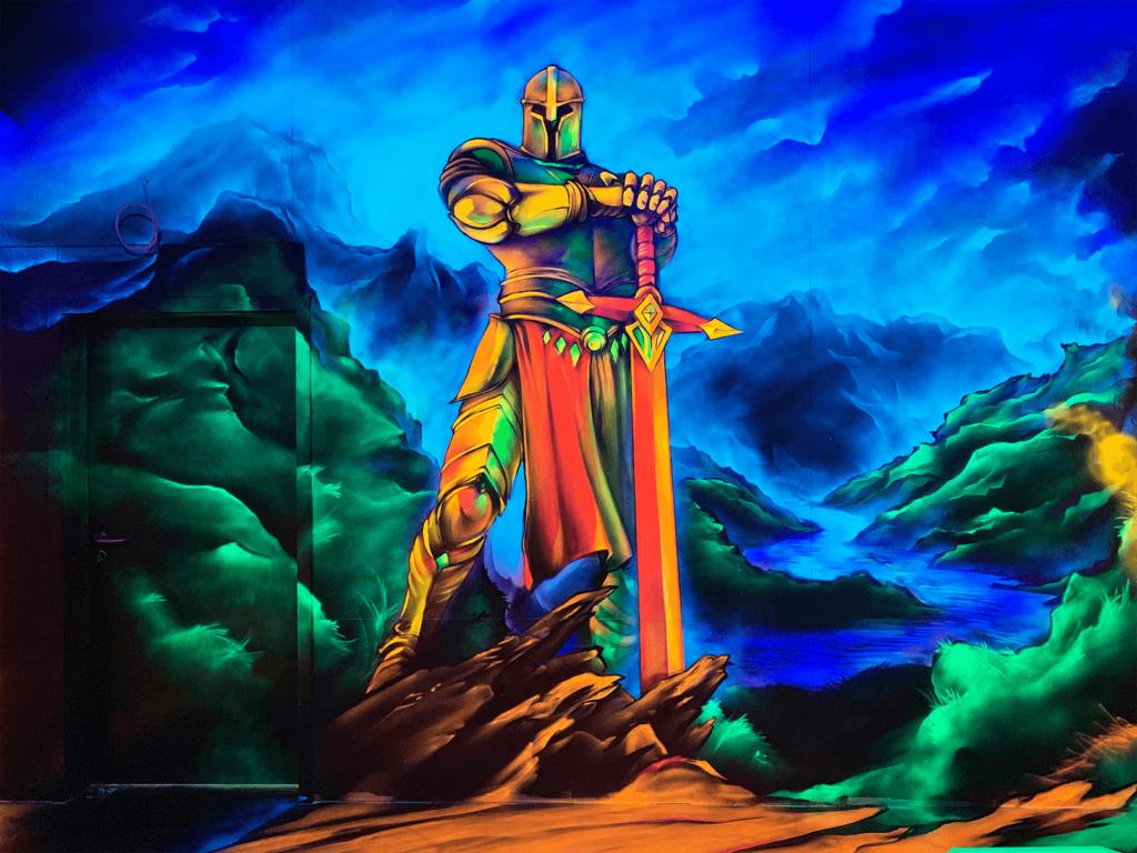 Schwarzlicht Mittelalter Design Krieger