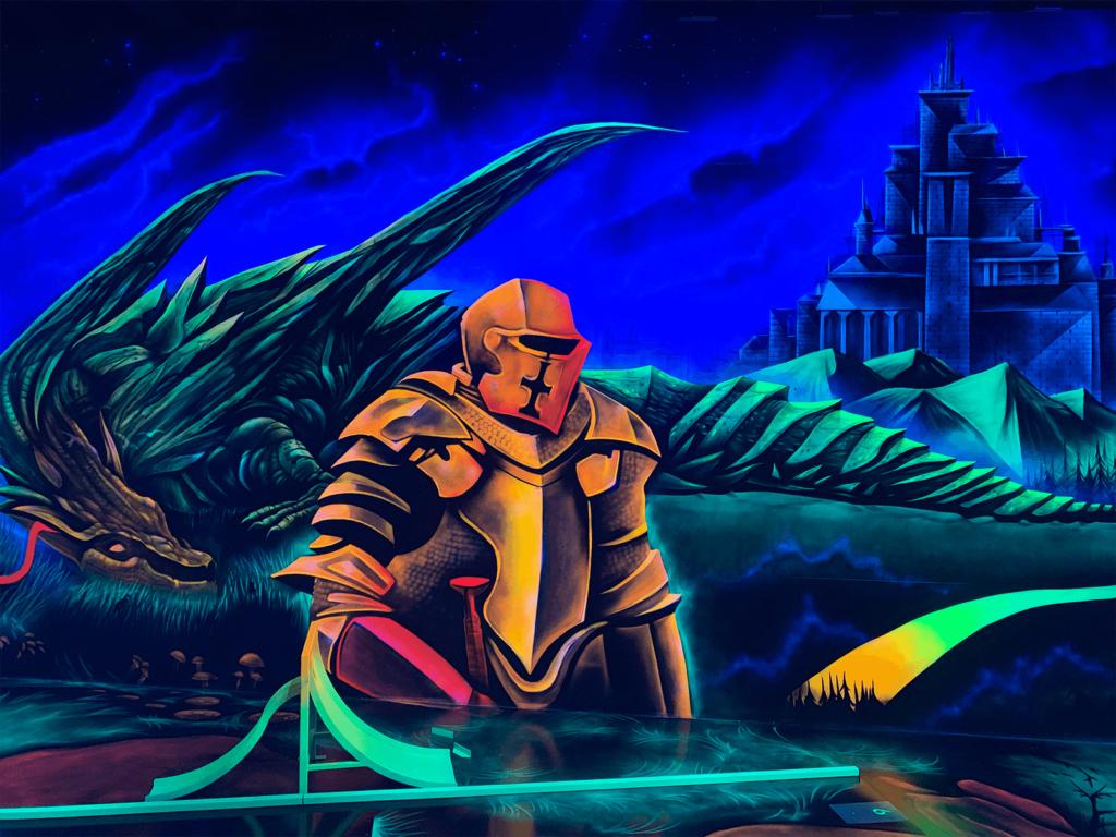 Schwarzlicht Mittelalter Wanddesign Ritter
