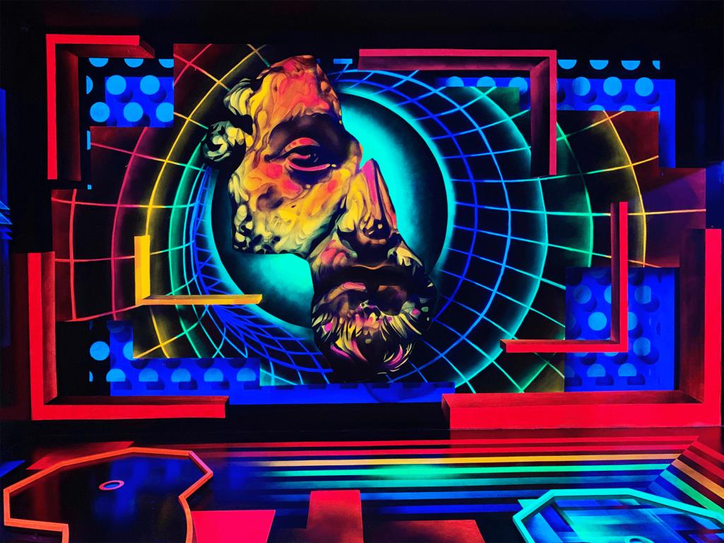 Schwarzlicht Science Fiction Wanddesign 02