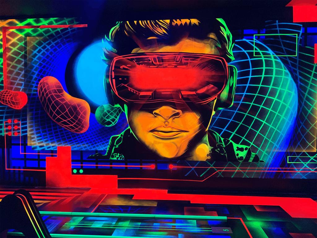 Schwarzlicht Science Fiction Wanddesign
