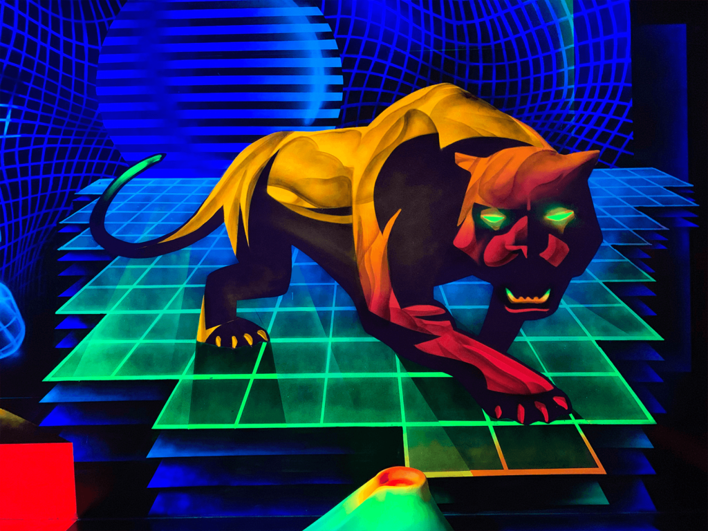Schwarzlicht Science Fiction Wanddesign Leopard