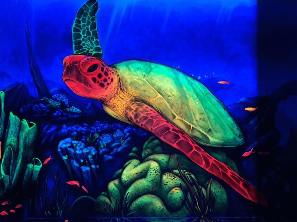 Schwarzlicht Unterwasser Design Schildkröte