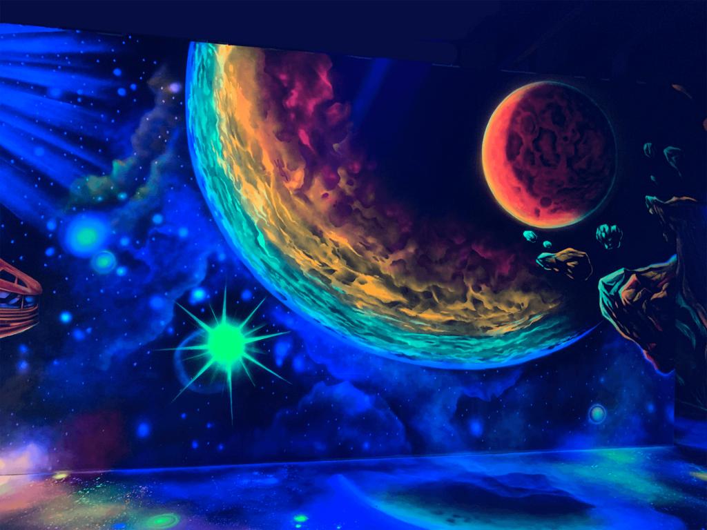 Schwarzlicht Weltraum Design Planeten