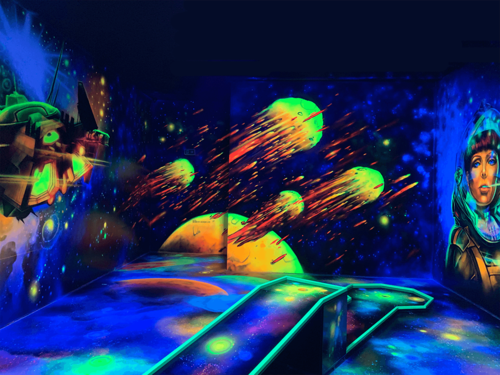 Schwarzlicht Weltraum Wanddesign Asteroiden