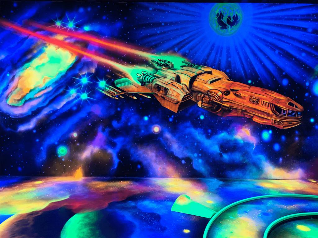 Schwarzlicht Weltraum Wanddesign Raumschiff